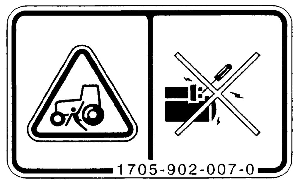 1705-904-002-0) DANGER: RISK OF ELECTRIC SHOCK Start the engine only from the seat using the key. (11) Operation caution label (Code No.1674-904-001-0) A.