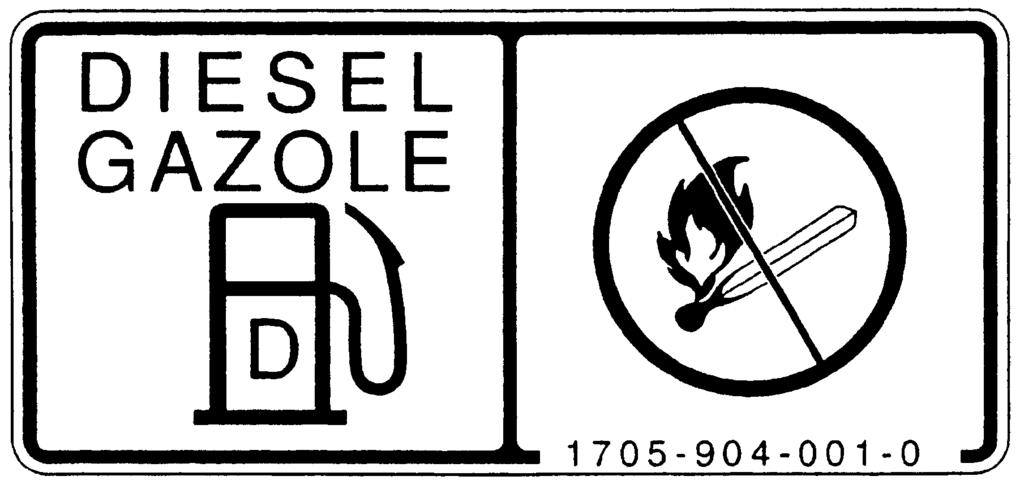 SAFETY (12) Fuel label (Code No.1705-904-001-0) (15) Starting engine caution label (Code No.1640-904-005-1) (Except for HST type) DANGER: RISK OF EXPLOSION AND BURNS Use only diesel fuel.
