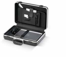 case made of leather, with castors 1 document compartment in the lid with 1 pocket for business cards 2 loops for pens 1 push-in compartment for e.g.