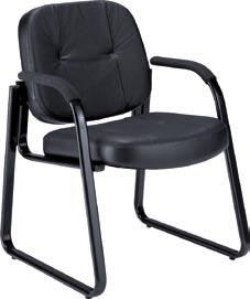 "EXECUTIVE SEATING Model 503-L Guest chair has a comfy 3"" thick padded seat and a stable sled base."
