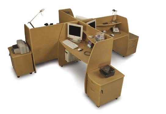 Private Workstation and Mobile File Model 55148 Workstations with Model 55106 Mobile File Pedestal Model 55148 Privacy