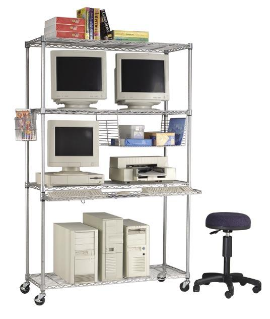 LAN Storage Units Open design keeps electronics cool Includes casters, paper and manuals baskets, and keyboard tray.