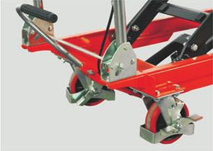 Optional screw type lowering and cable type lowering. PJ-770-TFD Double Scissor Lift Table Truck 770 lbs Min.