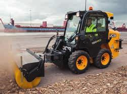 2 The emergency exit on a JCB skid steer or compact track loader is via the front of the