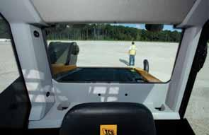 No mesh for a clear view Enclosed cab versions of the new JCB skid steer feature laminated protective glass, not the steel mesh found on ordinary skid steers.