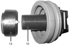 Thread on the adjuster nut (14) to the stop on the adjuster bolt (15) and make sure that the adjuster nut (14) does not counter against the stop. Grease the teeth of the adjuster nut (14).