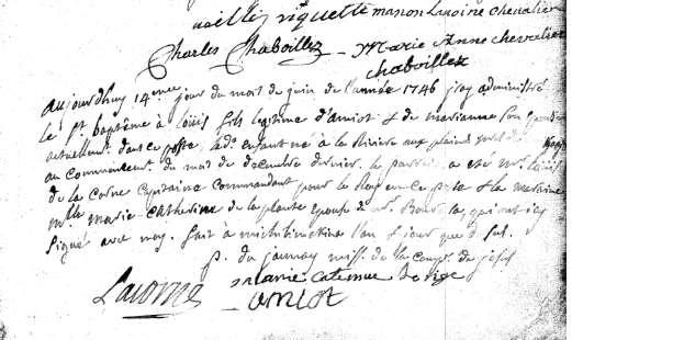 4. Ursule Amiot was baptized 29 October 1724 at Michilimackinac [Ste. Anne, Mackinac CD, Baptisms, 1695-1749, Image 5].
