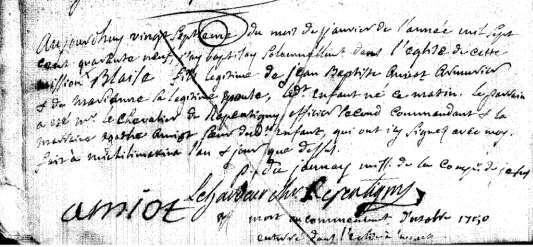 12. Blaise Amiot was born and baptized 27 January 1749 in Michilimackinac. His godparents were M r.