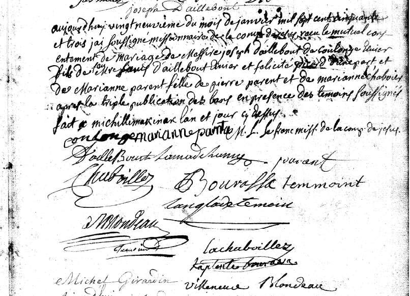 Marriage of Paul Joseph d Ailleboust, sieur de Coulognes and Marie Anne Parent Marie Anne Parent was baptized 26 November 1736 in Michilimackinac [Ste.