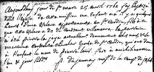 Constant Amiot died 23 November 1761 in Laprairie [PRDH, # 10471 Amiot Oukabé Family and Group Sheet].