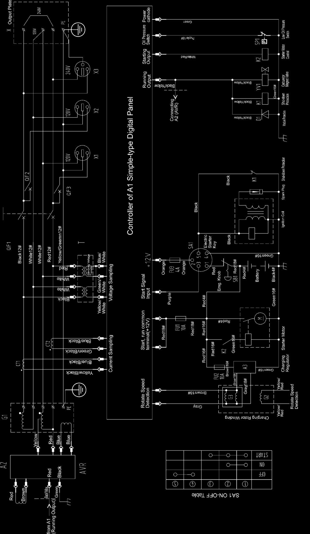 6. KGE1E3 ELECTRICAL WIRING DIAGRAM (Without Electric Governing) (DOUBLE VOLTAGE OUTPUT).