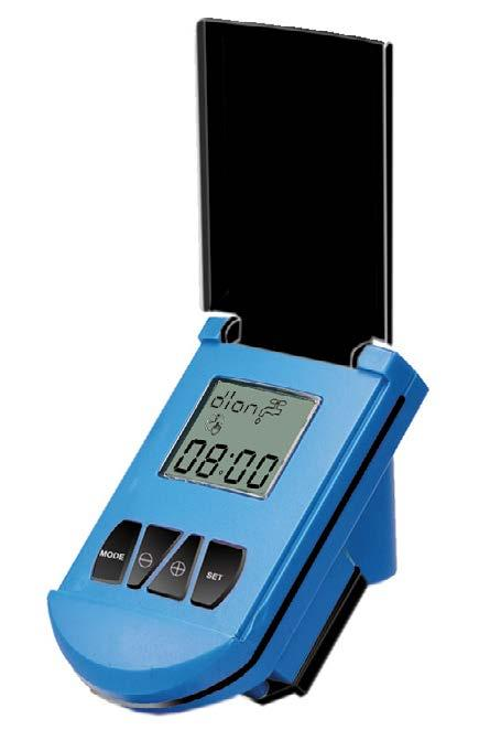 Back-up memory Low battery warning Power saving LCD Battery included Various mounting options : Directly on a 28mm diameter solenoid in horizontal or vertical position with adaptor Wall mounting with