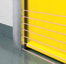 The barrel cover that is limited to the door width is available as a galvanised version and on request also powder-coated based on RAL.