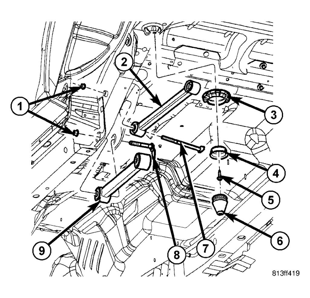 Fig. 100: Suspension Arms Components 1 - NUT 2 - UPPER SUSPENSION ARM 3 - UPPER SPRING ISOLATOR 4 - JOUNCE BUMPER RETAINER 5 - BOLT 6 - JOUNCE BUMPER 7 - UPPER FLAG BOLT 8 - LOWER FLAG BOLT