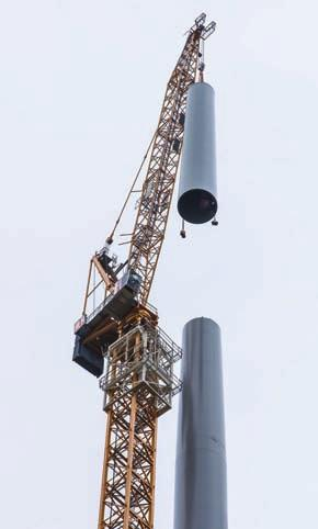TOWER CRANES AND WIND ENERGY Barnhart proposal for a climbing lifting frame to construct extremely tall wind turbines simply connected by hydraulic pins to a central adapter, has since been designed
