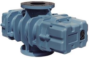 Design Blower with 3-lobe rotors and two cast-in preinlet channels in the discharge-sided cylinder part to minimize the sound by pulsation reduction. Housing ribbed and air-cooled.