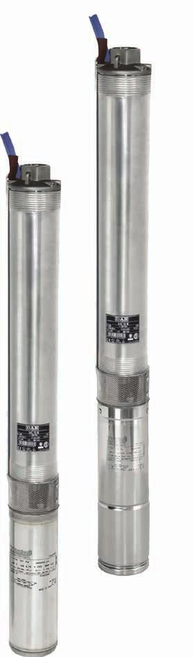 "SERIES S4 SS6 - SS7 - SS8 - SS10 SUBMERSIBLE PUMPS AVAILABLE VERSION AISI 316 6"" 4"" 10"" TECHNICAL DATA MAX DELIVERY: 27 m³/h MAX DELIVERY: 260 m³/h FEATURES MAX HEAD: 318 m POWER RANGE: 0,37 kw - 5,5"
