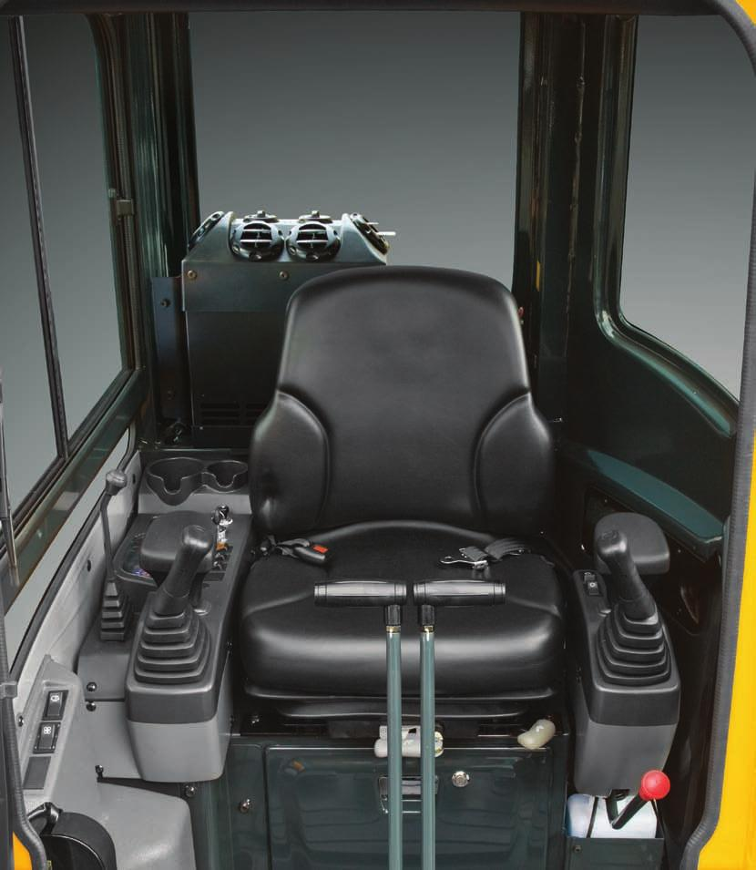 Two cup holders are integrated into the right console for large and small drink storage. 3. An additional storage box with key lock is accessible under the operator's seat. 4.