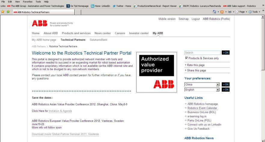 ABB Value Provider Program Channel Partner Portal Password controlled access to eg: Product
