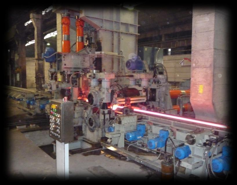 Horizontal + vertical fixed reversible stands breakdown mill A different approach to compact roughing mill design that avoids installation of bar turner and movable alignment devices is the