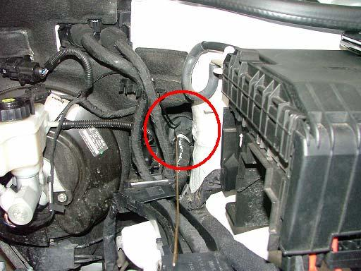 Locate the grommet as indicated above.