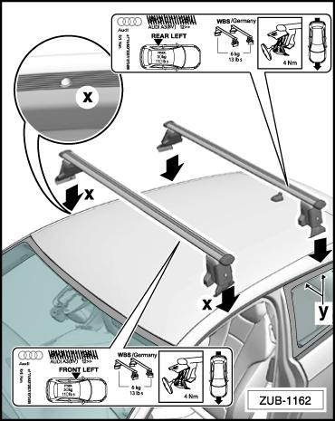 Swivel out the claw fasteners -12- and hook the narrow end of the claw fasteners in the installation position on the base supports -9-. Open the vehicle doors.