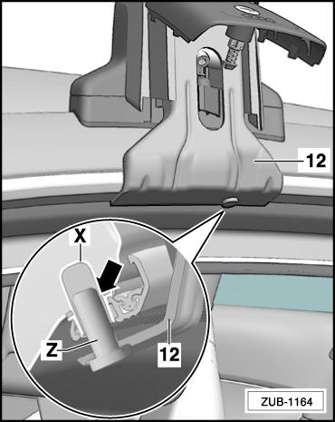 The positioning bolt -Z- of the claw fastener -12- must be positioned precisely below the decorative roof trim mounting hole -X-. Move the roof bar forwards or backwards if necessary.