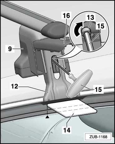 Hold the claw fastener -12- in the installation position and gently tighten the bolts -13- using the torque wrench -15-.