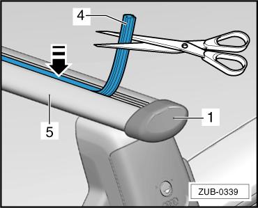 To install the add-on components, remove the profile cap -1- from the profile tube -5- -arrow A-. Insert the add-on components in the T groove -arrow B-. Slide the profile cap -1- back on -arrow C-.