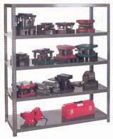 "HEAVY-DUTY STORAGE PRODUCTS EXTRA HEAVY-DUTY SHELVING Excellent for storage of dies, fixtures, jigs, or any heavy material Uprights are 13-gauge formed angle 2"" x 2"", punched on 1"" centres for quick"