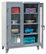 "lbs. FG851 48 x 24 x 60 66 3 1200 446 FG852 48 x 24 x 72 78 4 1200 536 HEAVY-GAUGE STORAGE CABINETS All-welded 14-gauge cabinets and shelves which can be adjusted every 3"" Doors feature secure"