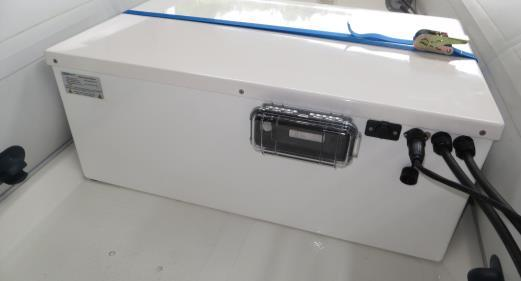 Batteries in aluminium housing have to build in dry storage rooms. For open boats or for the use in cockpits grp housings are available.