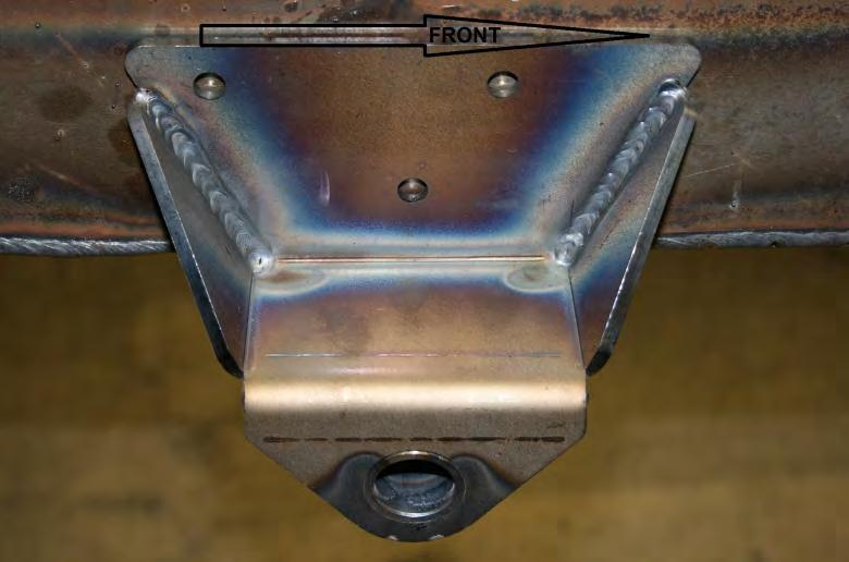 Use the bracket as a template for drilling any remaining holes on the frame Fasten the brackets to the original holes on the frame using the provided 3/8-24x1 ¼ bolts, nylock nuts, and one washer