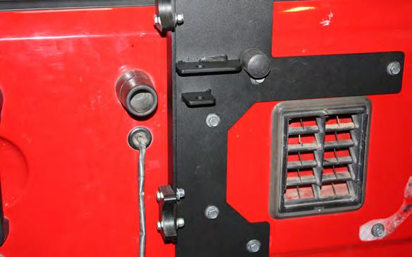 6. Insert a ½ x 1-1/4 long bolt with flat washer through the frame bracket and the rear most hole in the side of the frame.