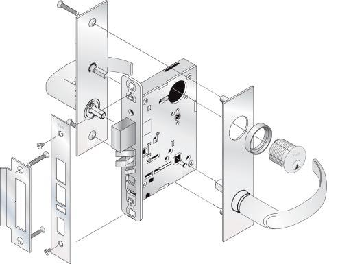 "SL8800 Specifications for all levers below: SL Escutcheon: 8"" x 2-1/2"" : See pages 37-40 Material: Stainless steel escutcheon; Brass lever (plated to match stainless steel) Augusta - AUSL Arcadia -"