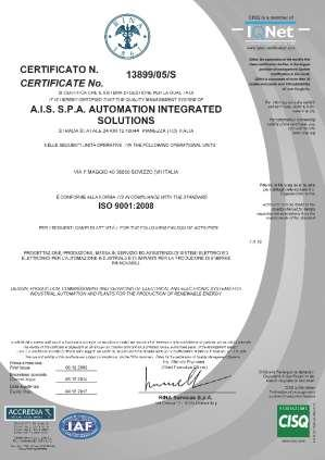 THE COMPANY AIS IS ISO 9001:2008 CERTIFIED BY RINA AIS has in house know how and technical experience to interact with other Certification Bodies (Lloyd s