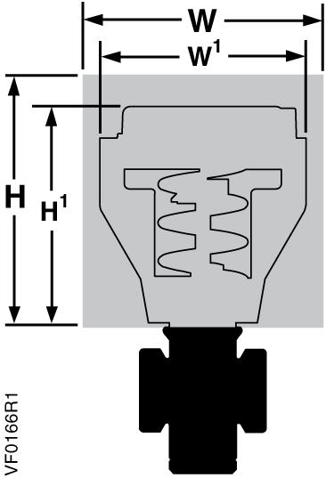 Flowrite 599 Series Two-Way Valves, 1/2 to 2-Inch, Bronze Body, ANSI 250 Dimensions The letters in Figure 6 refer to actuator and service envelope dimensions in Table 10.