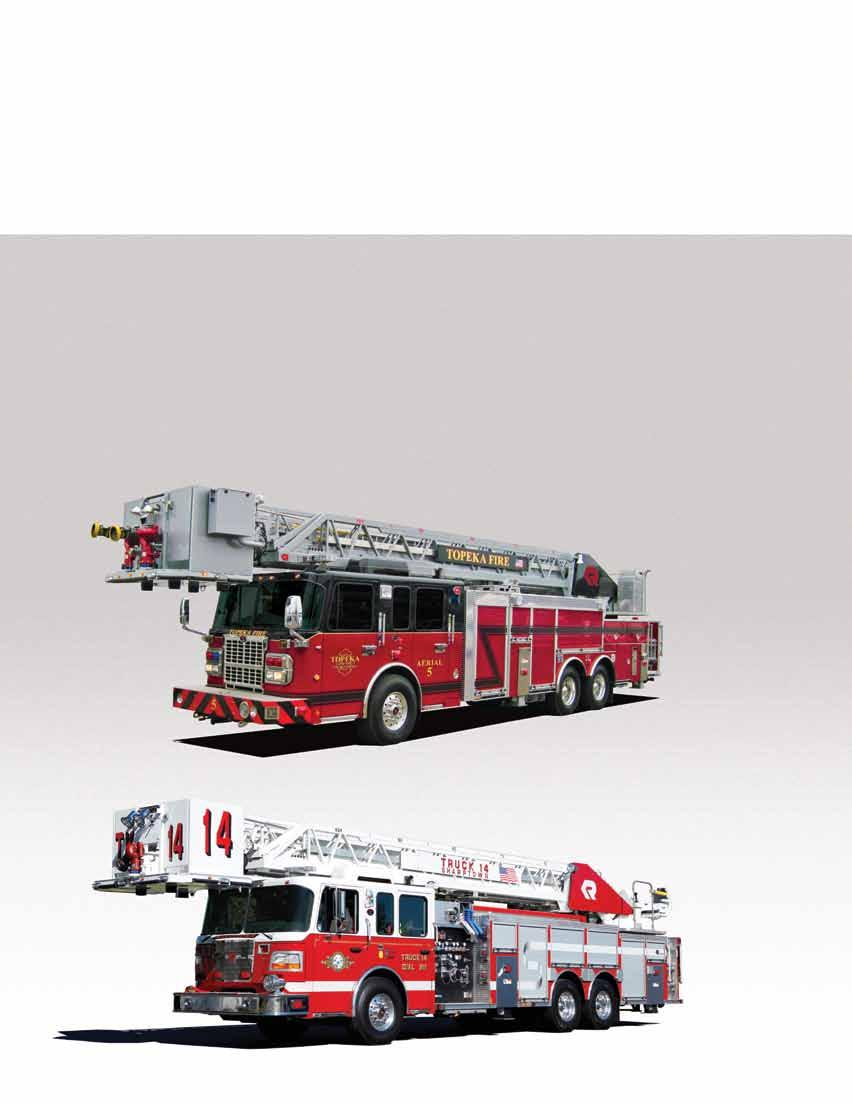 double-acting lift cylinders provide 12 to +75 degrees of aerial operation and easy access for firefighters.