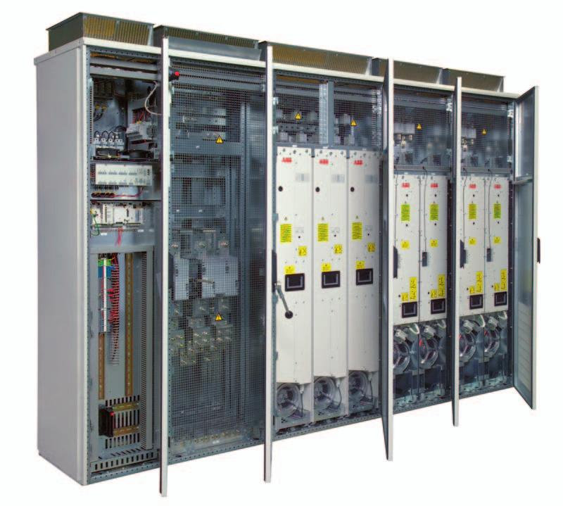 Cabinet-built drives I/O - connection and control Optional input terminals and main switch cubicle Withdrawable inverter modules Withdrawable diode supply modules Motor connection terminals