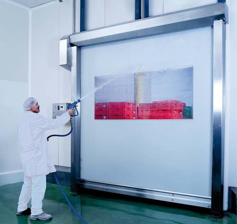 EFA-SRT -EC The hygienic high-speed roll-up door EFA-SRT -EC is the optimized solution for all internal passages with the highest hygienic requirements, such as in the production of foods.