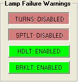 ENABLE or DISABLE Lamp Failure Warnings To enable or disable any of the above lamp failure warnings click on the specific warning key.