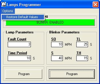 reprogram the Lamps Programmer to factory settings, click on