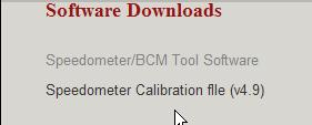 4. Go to the Software Download section and click on the link called Speedometer Calibration File (v X.X) 5.