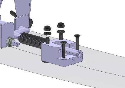 Bushings Bolts DIN 912 M6 Thrust plate Fig. 10 Remove the rear aluminum fork mount block from the lower fuselage skin by unscrewing the 4 bolts as shown in Fig. 11.