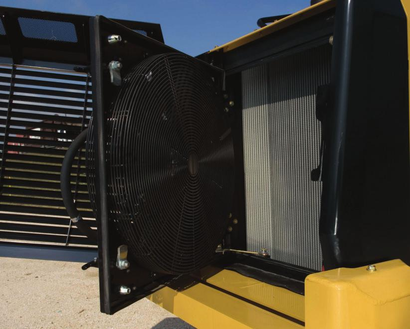 The hinged radiator grill gives easy access to the cooling system of the machine The hinged hydraulic fan makes the cleaning of the radiator easy and faster (not available on 97D) Heavy Duty