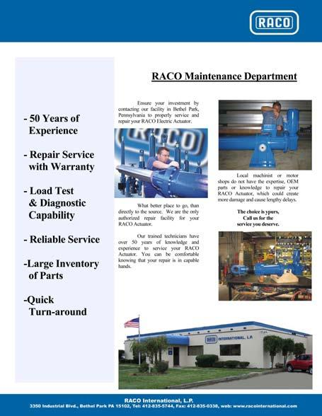 RACO Repair Service RACO In-House Repair Service 50 Years of Experience Repair Service with