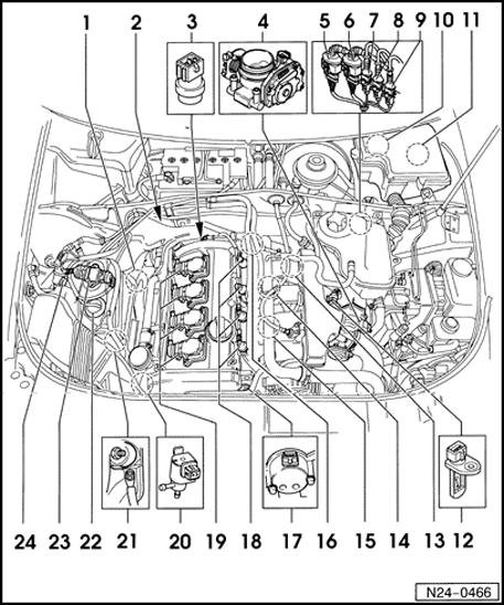 24-1 Fuel injection system, servicing Component locations overview 1 - Oxygen sensor 1 before Three Way Catalyst G39 2 - Oxygen sensor 2 after Three Way Catalyst G130 3 - Engine Coolant Temperature