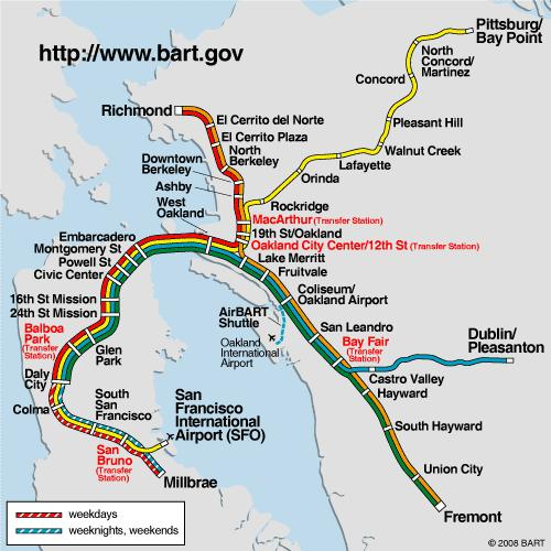 BART Ridership Current Travel Markets 2/3rds of BART trips to/from Market Street stations East Bay
