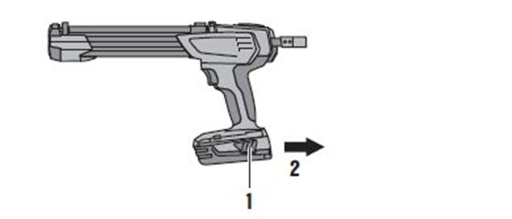 5 m/s² (4.9 ft/s²) 5 Operation 5.1 Inserting the battery Push the battery into the tool from the rear until it engages with an audible click. 5.2 Removing the battery Remove the battery.