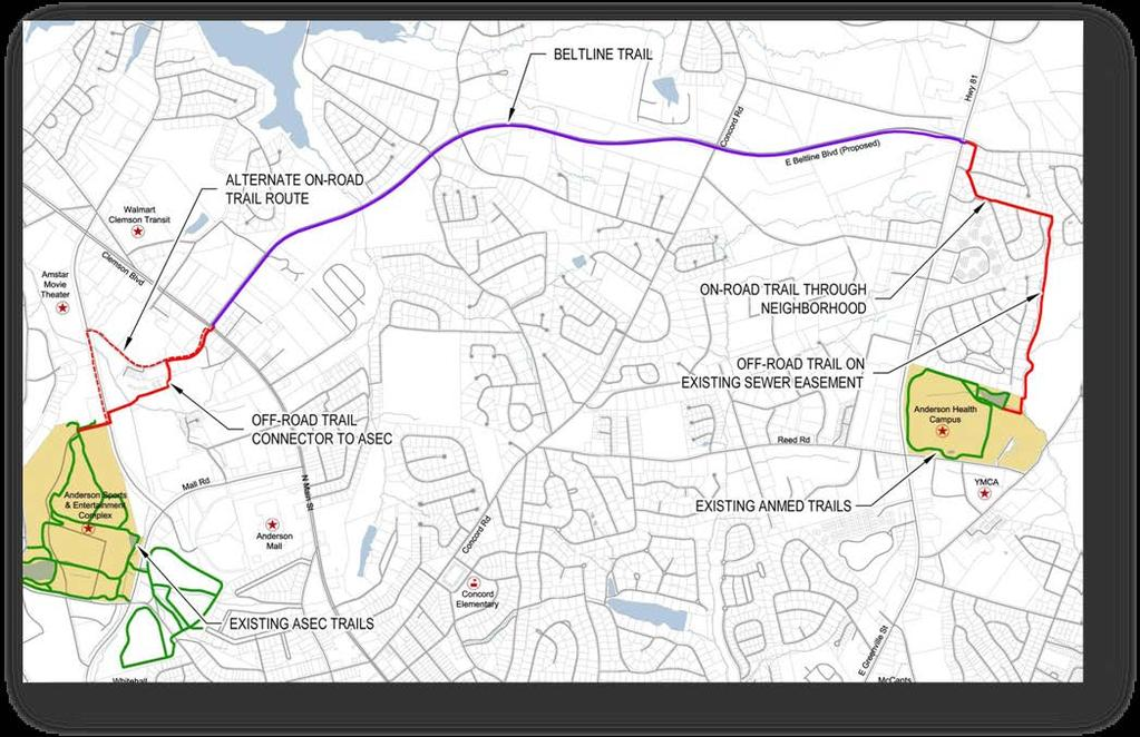 Project: Multi-Use Path Total Cost (thousands): $3,500 Anderson Area Transportation Study Transportation Improvement Plan Description: A ten foot multi use path running north/west across Clemson Blvd